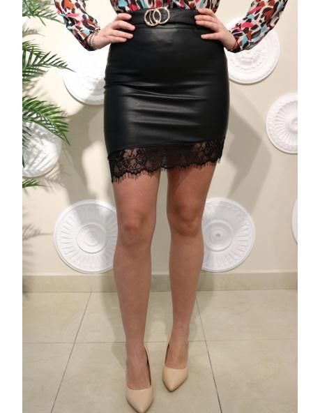 Falda Negra Piel Azuzena