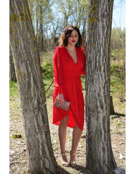 Vestido Soul Mangas Gasa Rojo