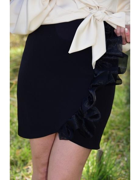 Falda midi volante negra