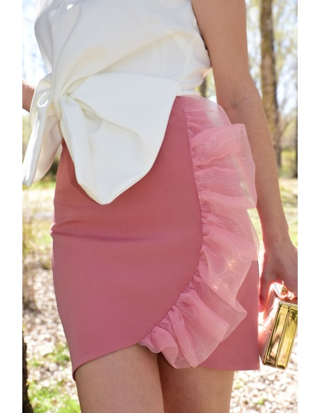 Falda midi volante Rosa