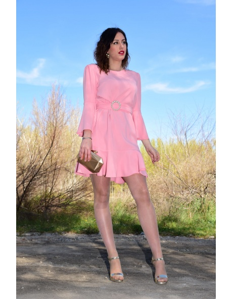 Vestido Vidal perlas Rosa
