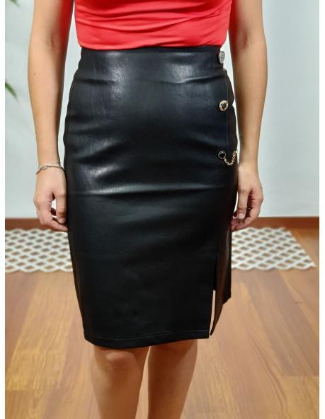 Falda cuero negro Ana