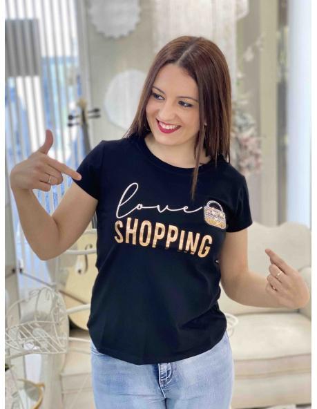 Camiseta Flora Negro