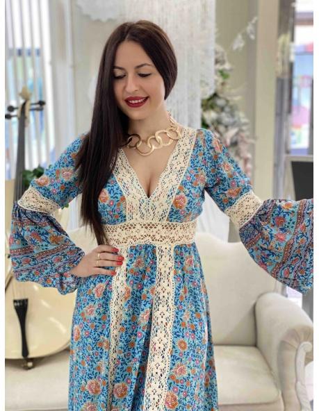 Vestido largo Lugo azul