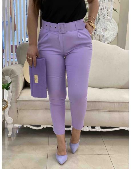 Pantalon cinturon lila
