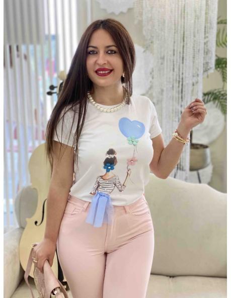Camiseta Turin blanco y azul