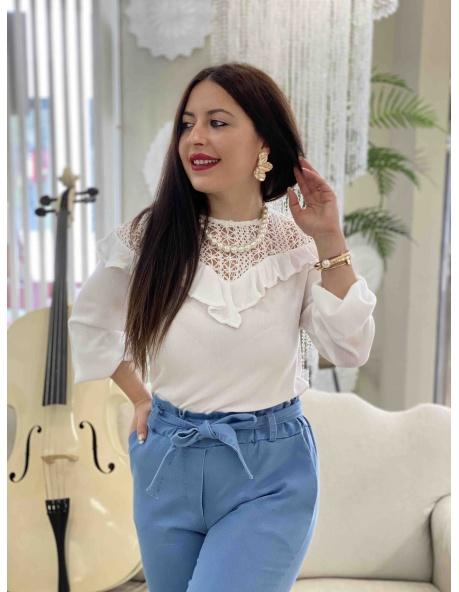 Blusa Croche blanca