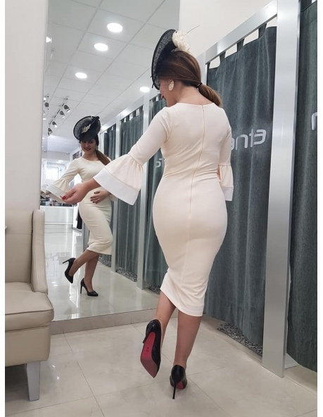 Vestido manga bicolor recto